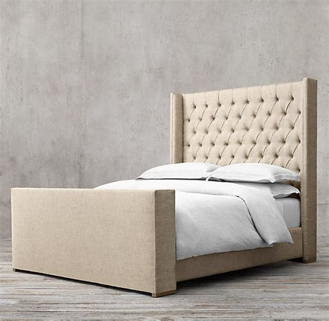 Upholstered Footboard tufted fabric upholstered platform wood upholstered bed with footboard