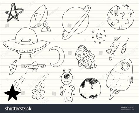 doodle ufo space ufo aliens doodles set stock vector 97561043