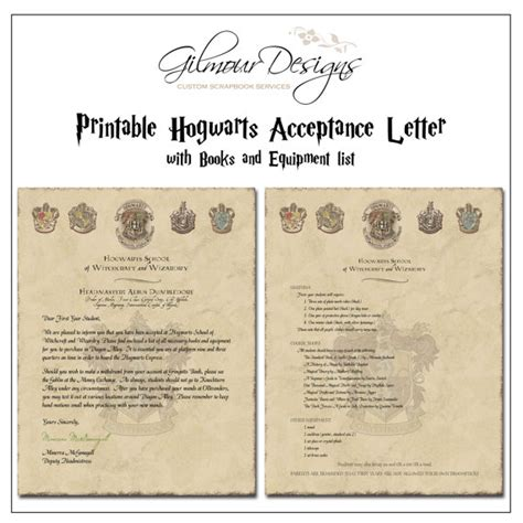Acceptance Letter For Equipment Harry Potter Hogwarts Acceptance Letter Printable With Book