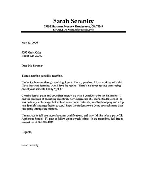 cover letter for instructors best cover letter exles for teachers writing resume