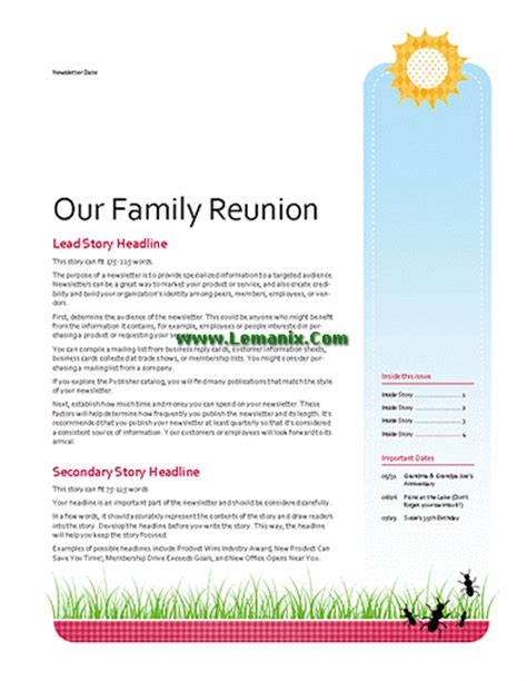 free family reunion letter templates family reunion newsletter publisher templates for
