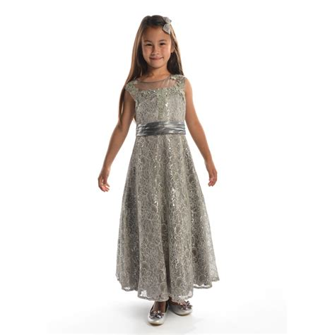 8 Prom Dresses by Childs Silver Lace Prom Dress For