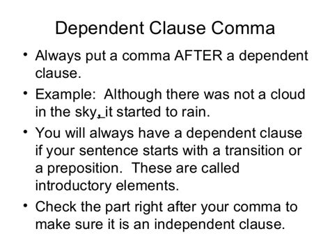 exle of dependent clause dependent clause comma practice 9 17 1