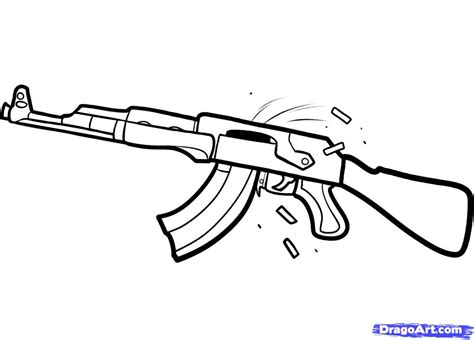 How To Draw An Ak 47 Step By Guns Weapons FREE Online Drawing  sketch template