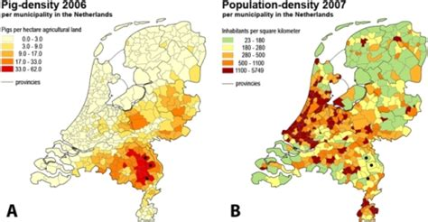 netherlands density map the pig density and population density in the netherlan