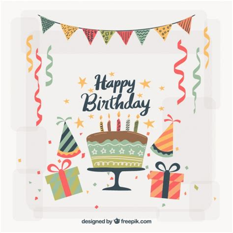Birthday Card Vintage Template by Vintage Birthday Decoration Background Vector Free