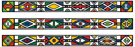 vector background ndebele artwork set of traditional african ndebele patterns stock vector