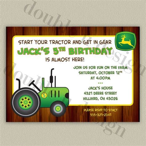 printable john deere birthday invitations free john deere tractor printable birthday party invitation