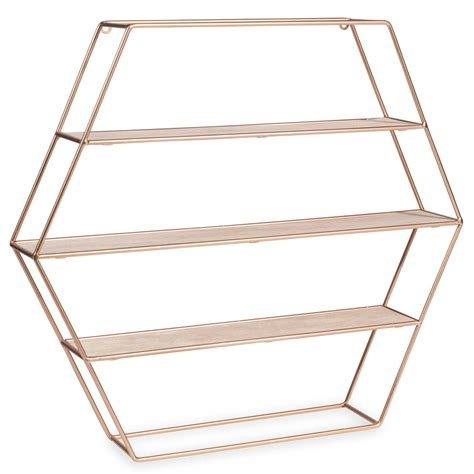 etagere 45 cm copper hexagonal metal shelf h 45 cm maisons du monde