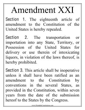printable version of the us constitution and amendments large print amendment xxi founding document