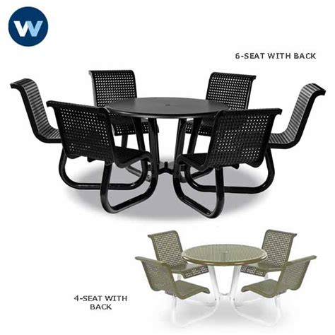 Round Patio Table And Chairs Outdoor Table With Attached Chairs Plastisol Coated