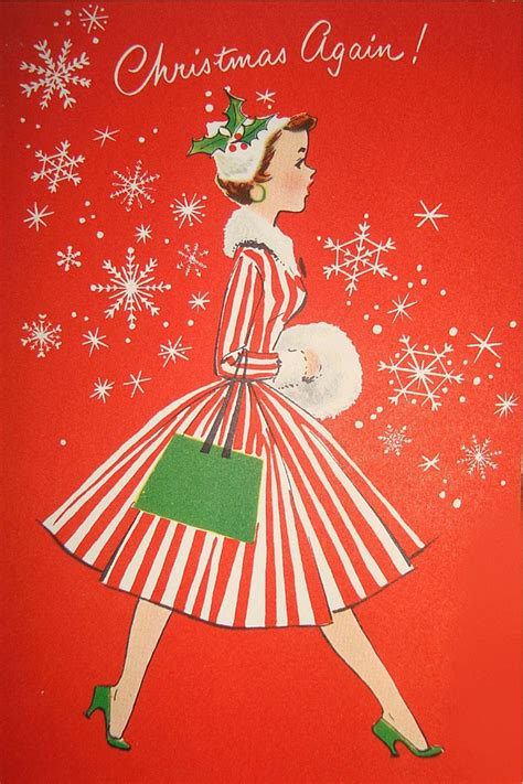 vintage christmas cards paint the gown red