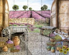 french wall murals quot kittle s french lavender field view quot hand painted tiles mural