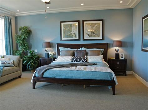 blue bedroom dark furniture photos hgtv