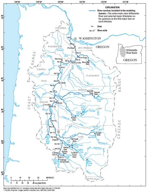 USGS Willamette River Temperature Modeling    Basin Map