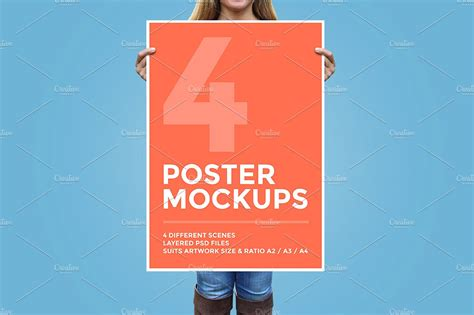 a2 card template photoshop 4 poster mockup bundle product mockups creative market