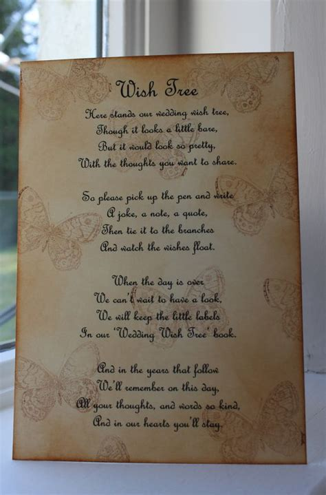 Wedding Wishes Venue Dressing by Butterfly Wedding Wish Tree Poem Vintage Style Beautiful