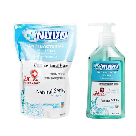 Sabun Nuvo 250 Ml jual nuvo icy splash soap tosca 250 ml free nuvo icy splash pouch soap tosca