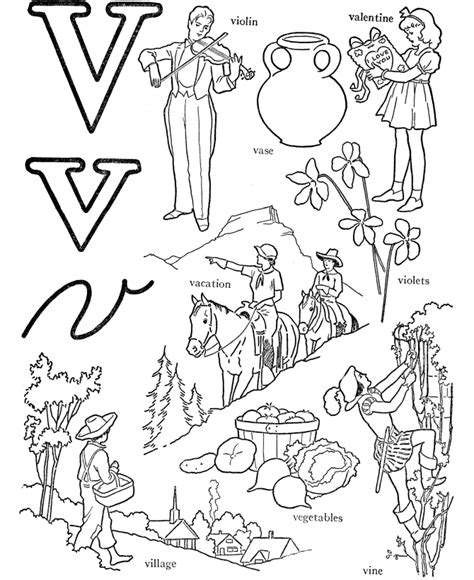 V Words Coloring Page by Abc Coloring Pages Printable Coloring Home