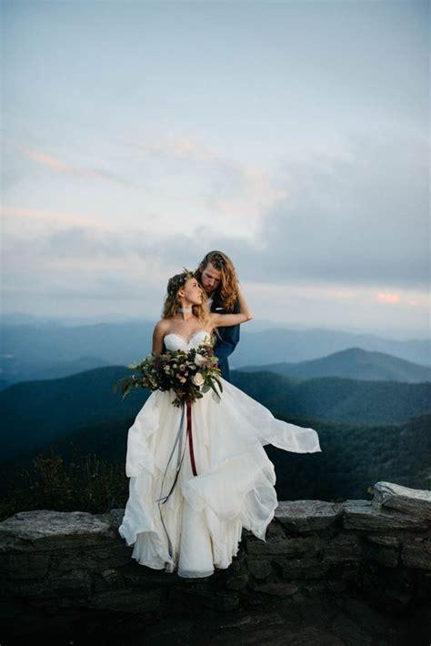 organic mountaintop elopement inspiration   blue