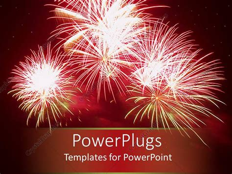 Powerpoint Template Celebratory Red Fireworks In Night Fireworks Templates Free