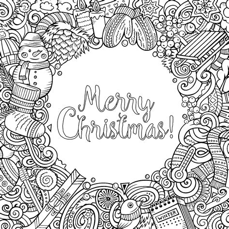 merry christmas doodles  text christmas adult coloring pages