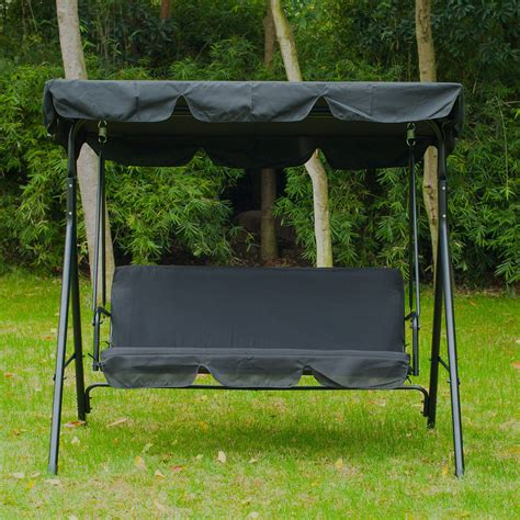 outdoor garden swing seat outsunny metal 3 seater outdoor swing chair lounger with