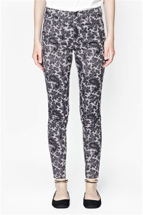 gray patterned jeans lyst french connection paisley party printed jeans in gray