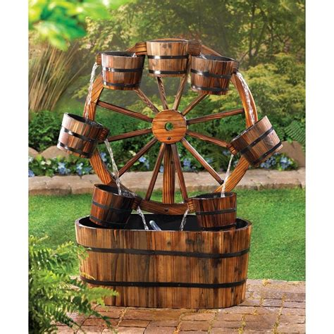 patio fountains wagon wheel water rustic fir wood garden patio