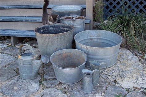 Garden Tubs And Pots Galvanized Garden Tubs And Containers Eclectic Outdoor