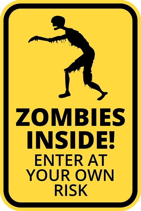 Boysroom Zombie Inside Funny Warning Sign Enter At Own Risk Sticker