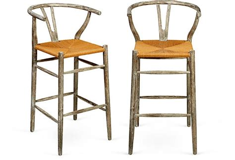 Driftwood Color Bar Stools by Bar Stools W Driftwood Finish Pair On Onekingslane