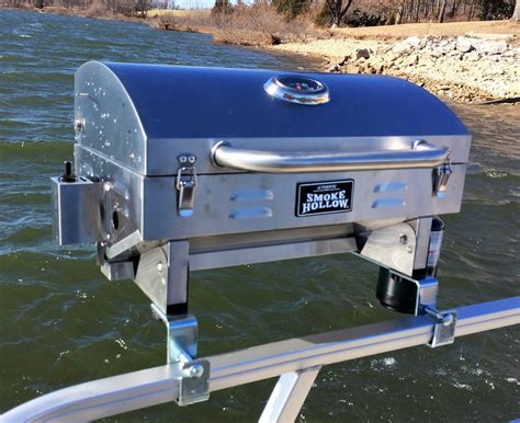 boat rail grill stainless steel smoke hollow grill with pontoon rail