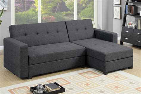 poundex amala f7896 grey fabric sectional sofa bed steal