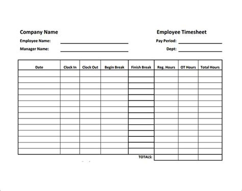 timesheet template employee timesheet template 8 free for pdf