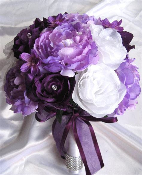 Wedding Bouquet Decorations by Wedding Bouquet Bridal Silk Flowers Decoration Plum Purple
