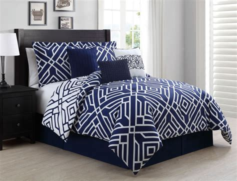 contemporary bedroom design with blue navy white full