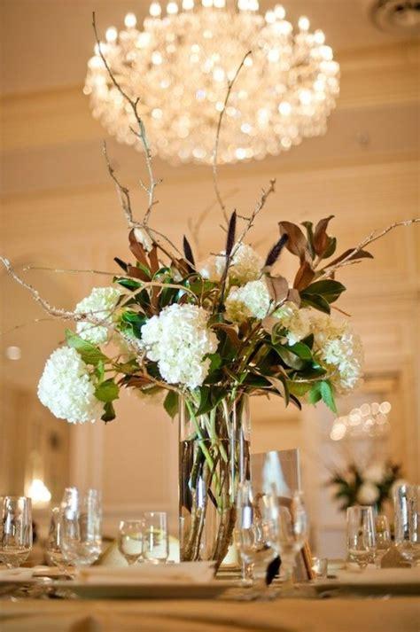 and centerpieces magnolia and hydrangea centerpiece