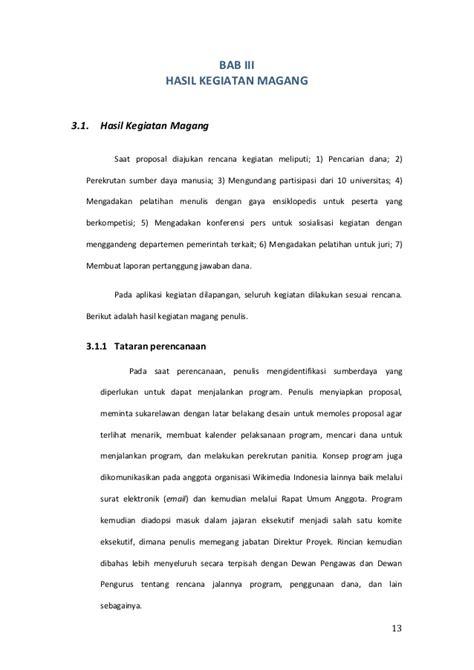Membuat Proposal Magang | laporan magang wikimedia indonesia