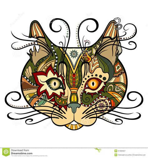 tribal cat stock image image vector tribal decorative cat stock vector image 51409427