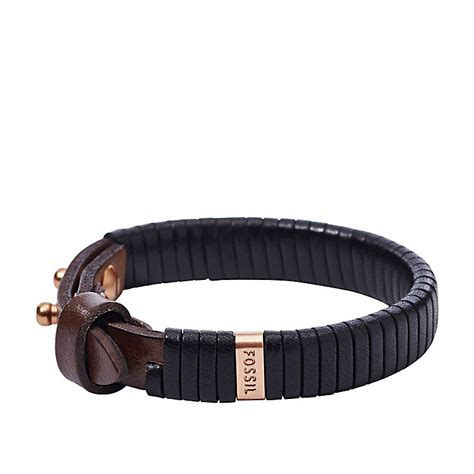 fossil s black leather bracelet ernest jones