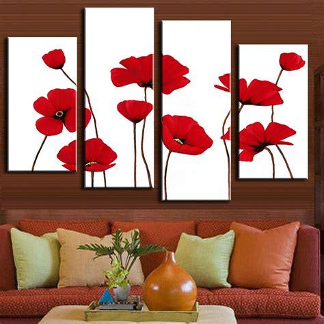 4 panels set flower painting wall decoration minimalist flower top on white