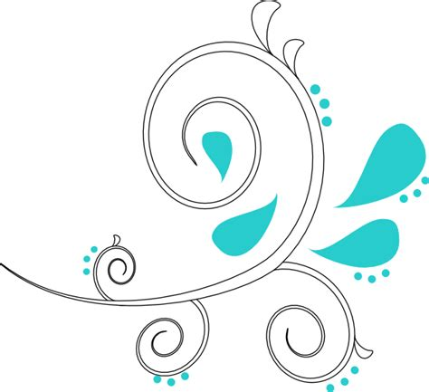 Swirl L by White Teal Paisley Swirl Outline Clip At Clker