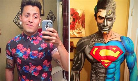 zombie cosplay costume glitter face design tattoo makeup artist transforms himself into comic book characters like