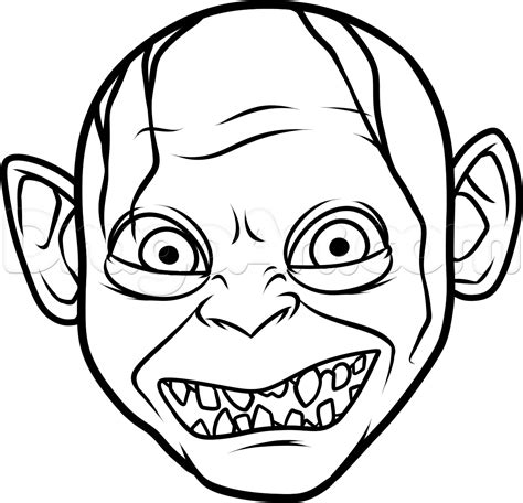 simple drawing how to draw gollum easy step by step characters pop