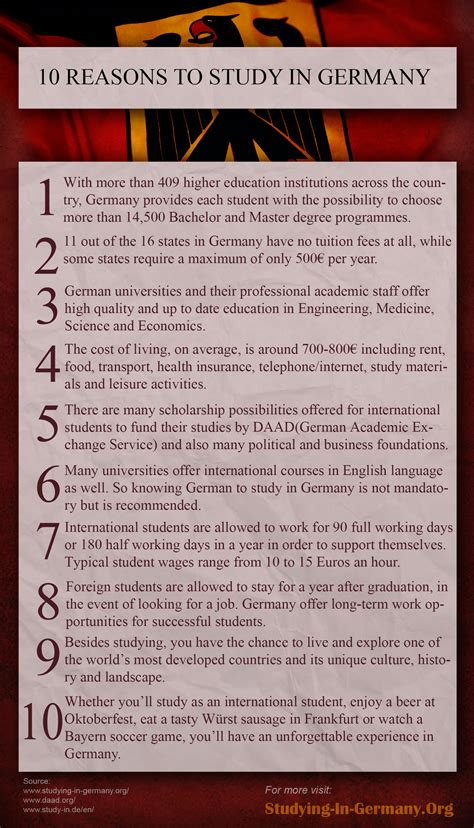 List Of German Universities For Mba by 10 Reasons To Study In Germany Infographic