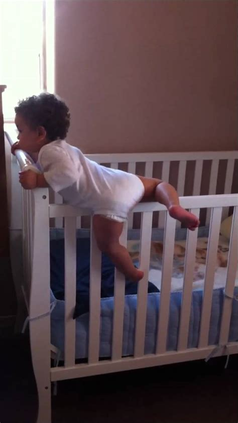 Baby Boy Climbing Out Of Crib 14 Month Old Youtube Babies Climbing Out Of Cribs