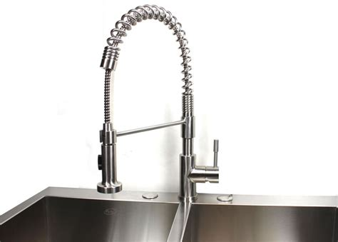 solid stainless steel single handle kitchen faucet with pull out sprayer head ebay ariel coil style solid stainless steel lead free single