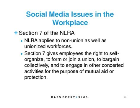 nlra section 7 protected activity the complexities and challenges of social media in the