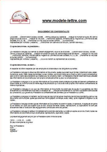 T Te De Lettre Entreprise engagement de confidentialit 233 modele lettre